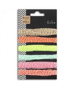 D.I.Y with Toga Lot de 6 ficelles bicolore 5m  nuance pastel