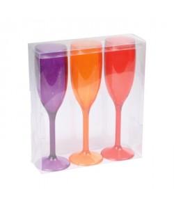 Lot de 3 flutes a champagne acrylique  Violet / Orange / Rouge