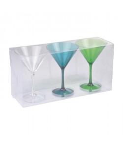 Lot de 3 verres a cocktail acrylique  Transparent / Bleu / Vert