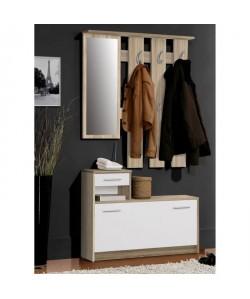 FINLANDEK Vestiaire d\'entrée avec miroir PEILI scandinave décor chene et blanc  L 97 cm