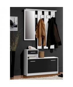 FINLANDEK Vestiaire d\'entrée avec miroir PEILI contemporain blanc et noir  L 97 cm