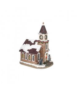 Maison de Noël lumineuse en résine 13,5x17,5x25cm