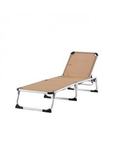 BEAU RIVAGE Chaise longue aluminium et textilene Monoi  Taupe
