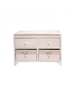 ROMA Petit meuble de rangement de salle de bain L 60 cm  Laqué blanc brillant