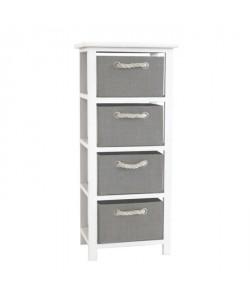 MODENA Petit meuble de rangement de salle de bain 34 cm  Laqué blanc brillant et gris