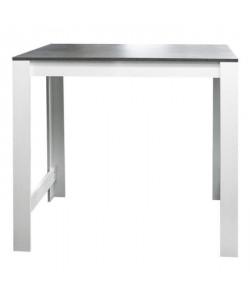 CURRY Table bar de 2 a 4 personnes style contemporain blanc mat et effet béton  L 110 x l 70 cm