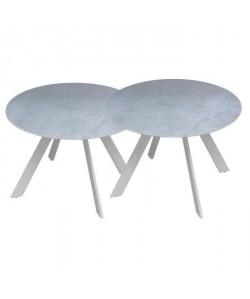 Lot de 2 tables rondes base en métal avec plateau en gres  Blanc