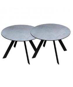 Lot de 2 tables rondes base en métal avec plateau en gres  Gris