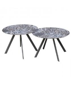 Lot de 2 tables rondes base en métal avec plateau en gres  Noir