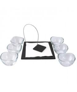 Service 7 pieces apéritif ou dessert 6 coupelles  un porte serviette noir et transparent