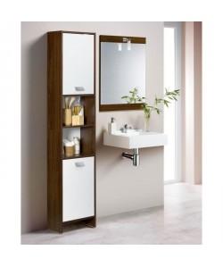 TOP Colonne de salle de bain L 40 cm  Décor wengé et blanc mat