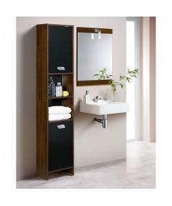 TOP Colonne de salle de bain L 40 cm  Décor wengé et noir mat