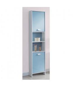 TOP Colonne de salle de bain L 40 cm  Blanc et bleu mat