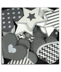 D.I.Y WITH TOGA Pack de 25 Confettis Bois Coeurs / Etoiles  Gris