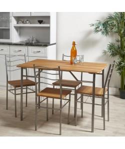 MIRABEL Ensemble table et chaises de 4 a 6 personnes contemporain en métal gris et MDF décor chene  L 110 x l 70 cm