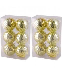 Set de 12 boules de Nöel miroir 6 cm doré