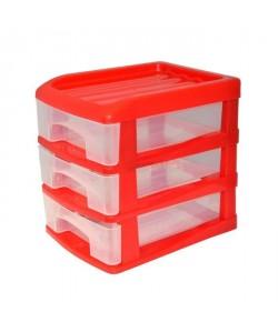 HOMEA Organiseur avec 3 mini tiroirs plastique 13x17x15,5 cm rouge