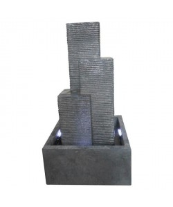 Fontaine City 3 colonnes a LED 38x38x69cm  Gris
