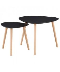 GALET 2 tables gigognes style contemporain noir laqué mat  L 60 x l 60 cm et L 40 x l 40 cm
