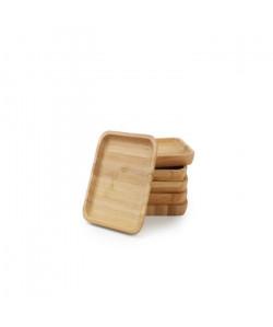 YONG Set de 6 sousverre  9x9 cm  Bambou