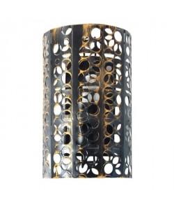 Applique métal perforé demi cylindre  E27 60 W Noir