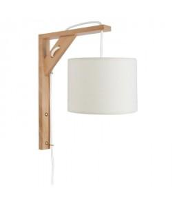 ÉQUERRE   Applique bois, rectangulaire, 30 cm, cordon avec interrupteur, et abatjours, blanc