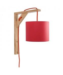 ÉQUERRE   Applique bois, rectangulaire, 30 cm, cordon avec interrupteur, et abatjours, rouge