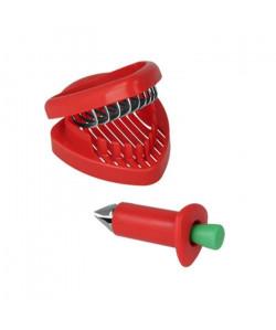 METALTEX Equeuteur et trancheur a fraises en plastique  2 en 1  9,5 x 4 cm / 8 x 9 x 3 cm