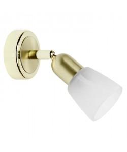 Applique spot Sofia diametre 8 cm E14 40W laiton et blanc