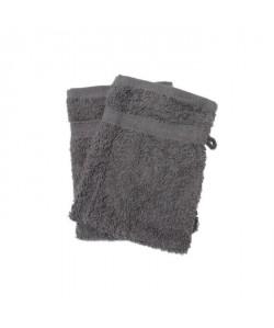 SOLEIL D\'OCRE Lot de 2 gants de toilette 100% Coton DOUCEUR 16x21 cm  Gris