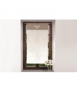 SOLEIL D\'OCRE Brise bise 100% coton brodé EMILIE 45x90 cm  Blanc et taupe