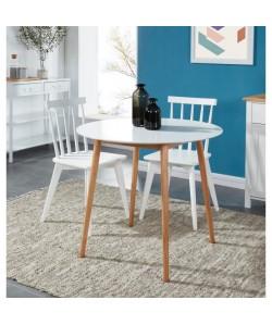 ANNETTE Table a manger ronde de 2 a 4 personnes style scandinave en bois massif et MDF laqué blanc satiné  L 87 x l 87 cm