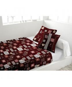 SOLEIL D\'OCRE Parure de lit ALPAGE 100% coton flanelle  1 drap housse  1 drap plat et de 2 taies d\'oreiller  Rouge