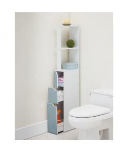 TOP Colonne de toilette L 15 cm  Blanc et bleu mat
