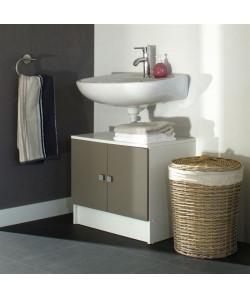 GALET Meuble sous lavabo L 60 cm  Blanc et taupe mat
