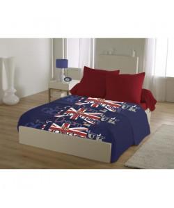 Parure de draps Microfibre 4 pcs DREAM IN LONDON  1 Drap Plat 240x300cm  1 Drap Housse 140x190cm  2 Taies d\'Oreillers sac 63x63