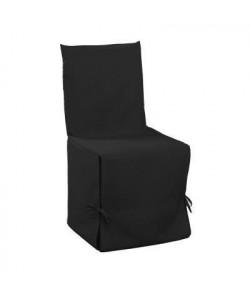 DOUCEUR d\'INTERIEUR Housse de chaise unie a nouettes 50x50x50 cm Essentiel noir