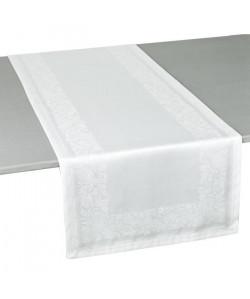 VENT DU SUD Chemin de table TRENTO  47x150 cm  Blanc neige