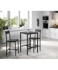 MANIRA Ensemble table bar de 2 personnes  2 chaises  Style contemporain  Noir laqué  L 60 x l 60 cm