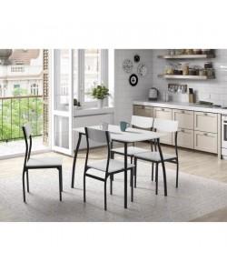 MELOKA Ensemble table a manger de 4 a 6 personnes  4 chaises  Style contemporain  Blanc laqué  L 110 x l 70 cm