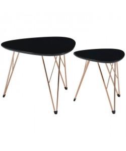 SIXTIES 2 tables basses gigognes vintage  MDF noir laqué mat avec pieds métal cuivre laqué  L 60 x l 60 cm et L 40 x l 40 cm